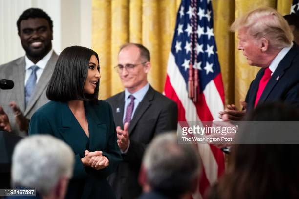Kim Kardashian speaks with President Donald J Trump at an event on promoting second chance hiring to ensure Americans have opportunities to succeed...