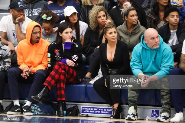 Kim Kardashian Taco Bennett Kendall Jenner and Larsa Younan watch courtside as Sierra Canyon plays Foothills Christian for the CIF Open Division...