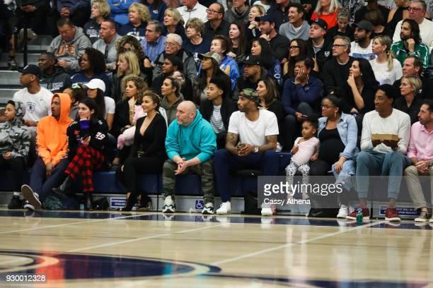 Kim Kardashian Taco Bennett Kendall Jenner Larsa Younan Kenyon Martin Sr and Scottie Pippen Sr watch courtside as Sierra Canyon plays Foothills...