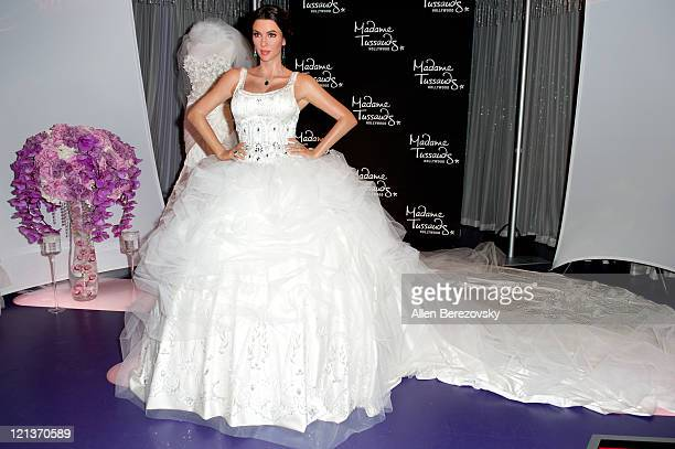 Kim Kardashian wax figure unveiled in a wedding dress designed by Simin Haute Couture at Madame Tussauds Hollywood on August 18 2011 in Hollywood...