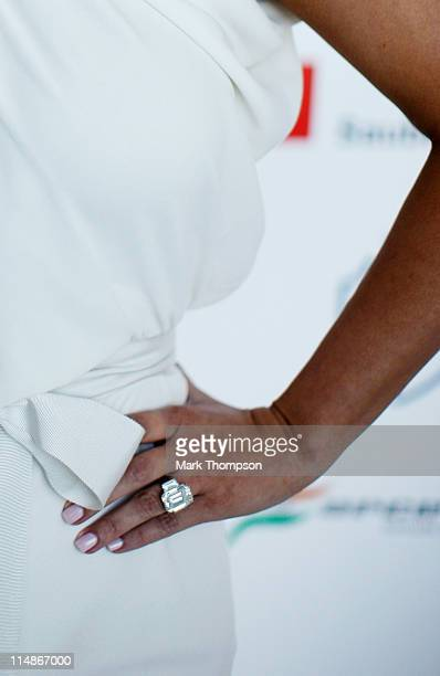 Kim Kardashian wears a diamond ring as she attends the Amber Fashion Show held at the Meridien Beach Plaza on May 27, 2011 in Monte Carlo, Monaco.