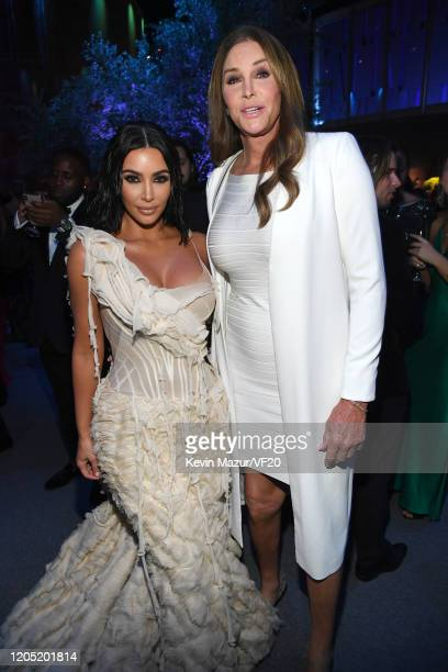 Kim Kardashian West and Caitlyn Jenner attend the 2020 Vanity Fair Oscar Party hosted by Radhika Jones at Wallis Annenberg Center for the Performing...