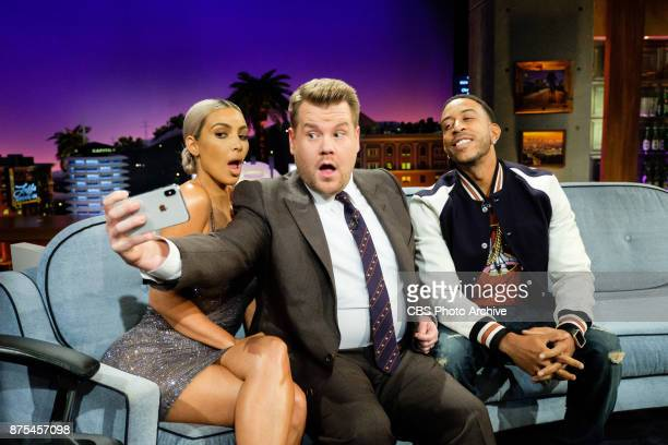 Kim Kardashian West and Chris 'Ludacris' Bridges chat with James Corden during 'The Late Late Show with James Corden' Wednesday November 15 2017 On...