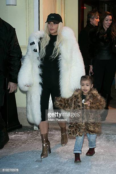 Kim Kardashian West and daughter North West are seen on February 14 2016 in New York City