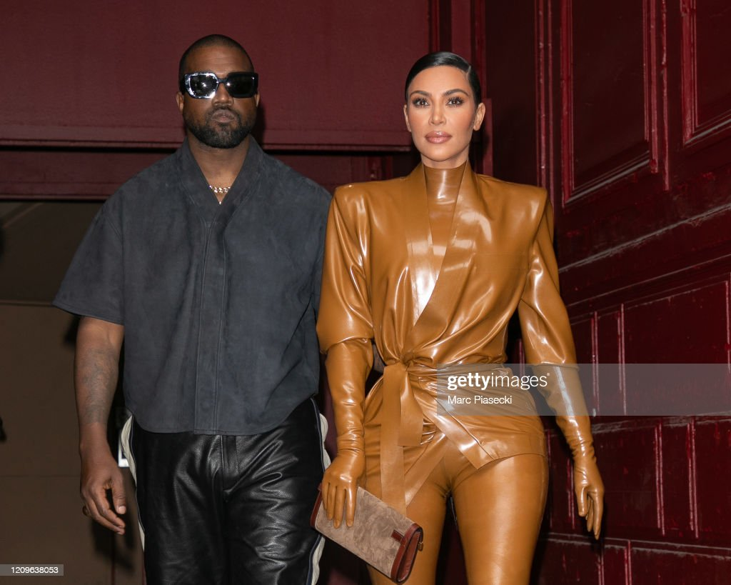 Kanye West & Kim Kardashian Leave K.West's Sunday Service At Theatre Des Bouffes Du Nord - Paris Fashion Week Womenswear Fall/Winter 2020/2021 : News Photo