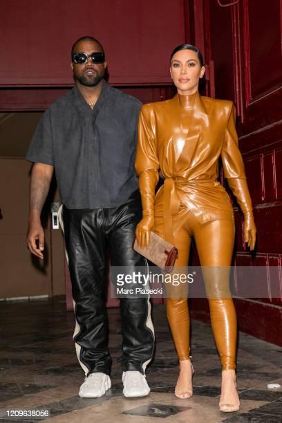 Kim Kardashian West and husband Kanye West leave KWest's Sunday Service At Theatre Des Bouffes Du Nord Paris Fashion Week Womenswear Fall/Winter...