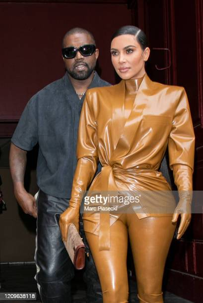 Kim Kardashian West and husband Kanye West leave K.West's Sunday Service At Theatre Des Bouffes Du Nord - Paris Fashion Week Womenswear Fall/Winter...