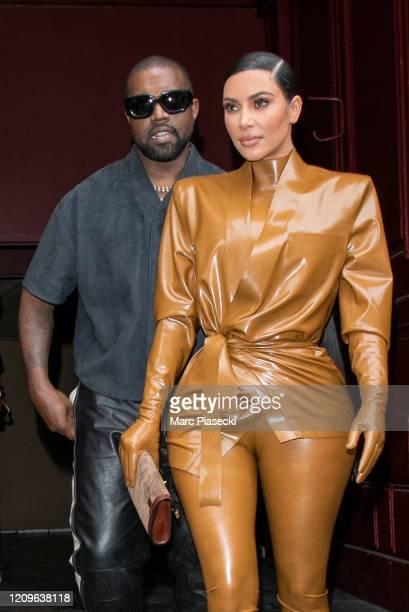 Kim Kardashian West and husband Kanye West leave K.West's Sunday Service At Theatre Des Bouffes Du Nord - Paris Fashion Week Womenswear Fall/Winter...