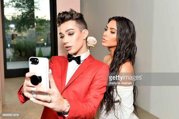 Kim Kardashian West and James Charles celebrate The Launch Of KKW Beauty on June 20 2017 in Los Angeles California