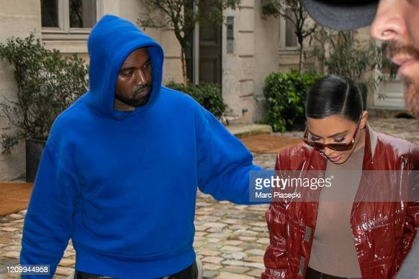 Kim Kardashian West and Kanye West are seen on March 02 2020 in Paris France