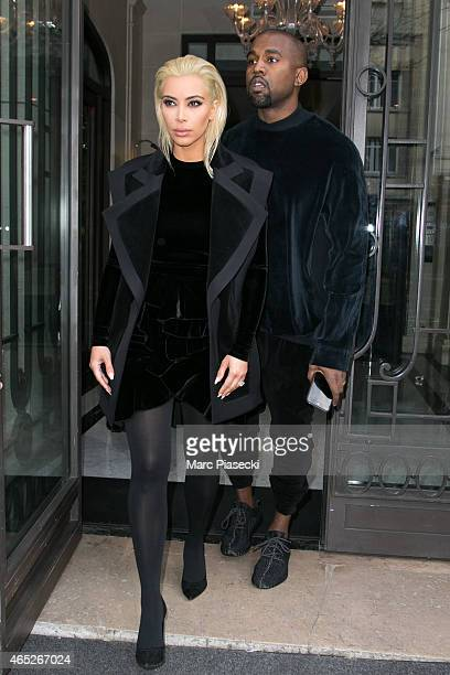 Kim Kardashian West and Kanye West are seen on March 5 2015 in Paris France
