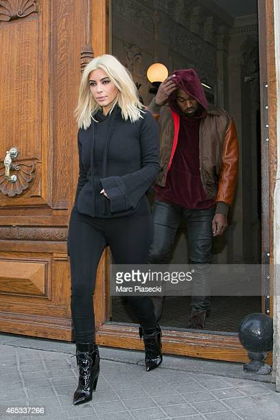 Kim Kardashian West and Kanye West are seen on March 6 2015 in Paris France