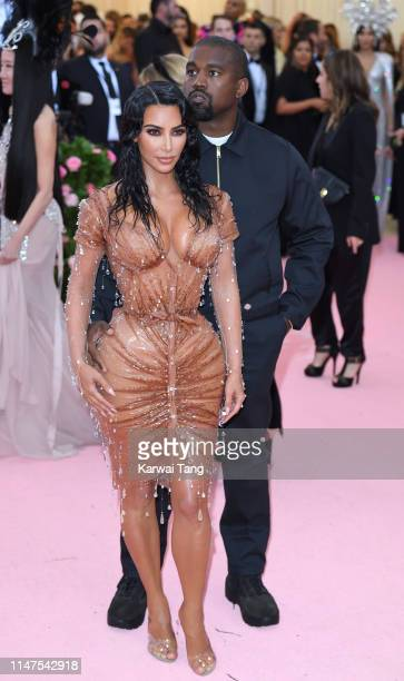 Kim Kardashian West and Kanye West arrive for the 2019 Met Gala celebrating Camp Notes on Fashion at The Metropolitan Museum of Art on May 06 2019 in...