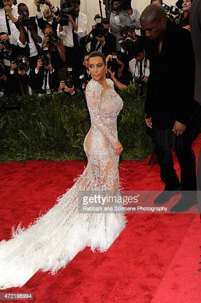Kim Kardashian West and Kanye West arrives at 'China Through The Looking Glass' Costume Institute Benefit Gala at the Metropolitan Museum of Art on...