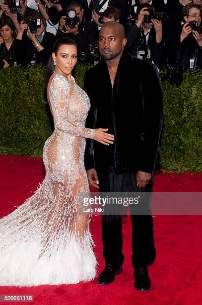 Kim Kardashian West and Kanye West attend 'China Through the Looking Glass' 2015 Costume Institute Benefit Gala red carpet arrivals at the...