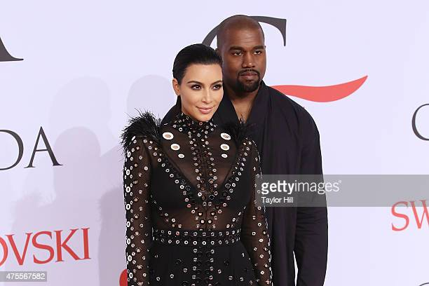 Kim Kardashian West and Kanye West attend the 2015 CFDA Awards at Alice Tully Hall at Lincoln Center on June 1 2015 in New York City
