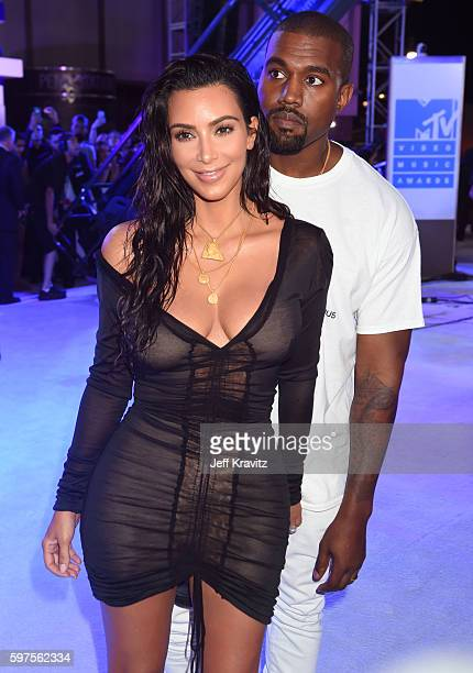 Kim Kardashian West and Kanye West attend the 2016 MTV Video Music Awards at Madison Square Garden on August 28 2016 in New York City