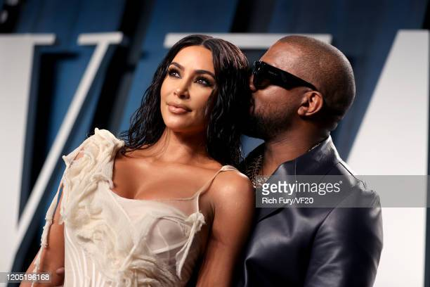 Kim Kardashian West and Kanye West attend the 2020 Vanity Fair Oscar Party hosted by Radhika Jones at Wallis Annenberg Center for the Performing Arts...