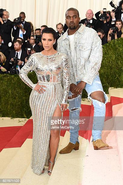 """Kim Kardashian West and Kanye West attend the """"Manus x Machina: Fashion In An Age Of Technology"""" Costume Institute Gala at Metropolitan Museum of Art..."""