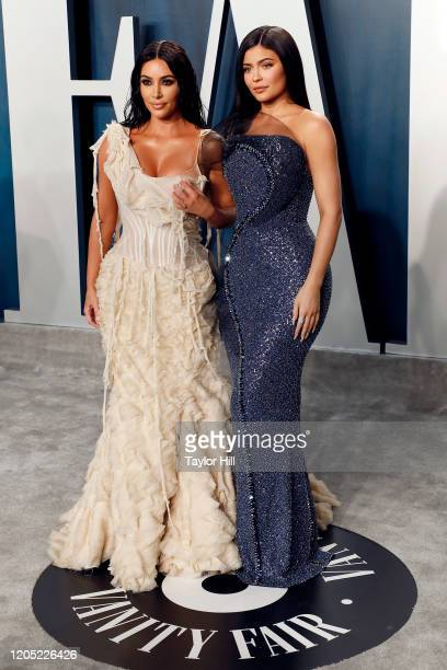Kim Kardashian West and Kylie Jenner attend the 2020 Vanity Fair Oscar Party at Wallis Annenberg Center for the Performing Arts on February 09 2020...