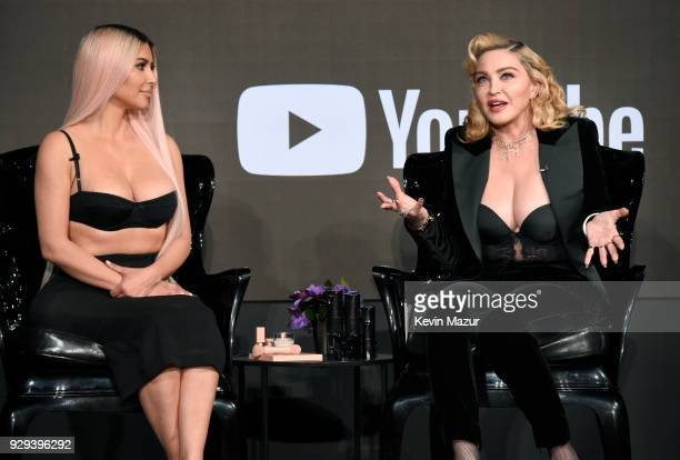 Kim Kardashian West and Madonna speak onstage at MDNA SKIN hosts Madonna and Kim Kardashian West for a beauty conversation at YouTube Space LA on...