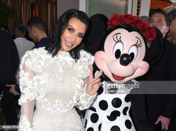 Kim Kardashian West and Minnie Mouse attend Fashion LA Awards at the Sunset Tower Hotel on April 2 2017 in West Hollywood California Minnie is...