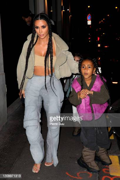 Kim Kardashian West and North West are seen arriving at a restaurant on March 02 2020 in Paris France