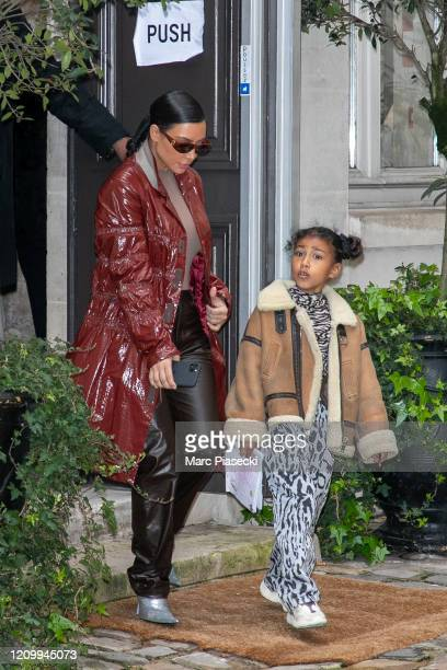 Kim Kardashian West and North West are seen on March 02 2020 in Paris France