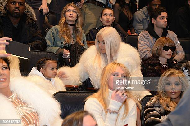 Kim Kardashian West and North West attend Kanye West Yeezy Season 3 at Madison Square Garden on February 11 2016 in New York City