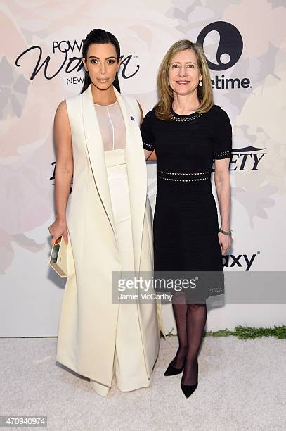 Kim Kardashian West and President of NBCU Cable Entertainment Lifestyle Networks Frances Berwick attend Variety's Power Of Women New York Brought To...