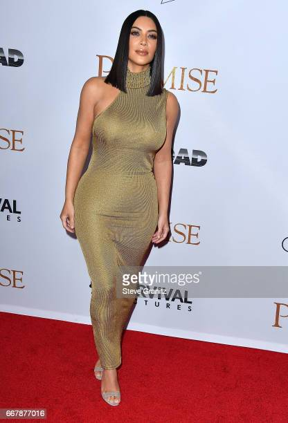 "Kim Kardashian West arrives at the Premiere Of Open Road Films' ""The Promise"" at TCL Chinese Theatre on April 12, 2017 in Hollywood, California."