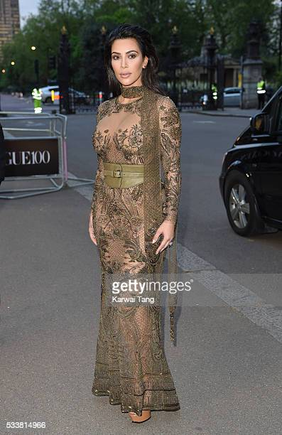 Kim Kardashian West arrives for the Gala to celebrate the Vogue 100 Festival at Kensington Gardens on May 23 2016 in London England