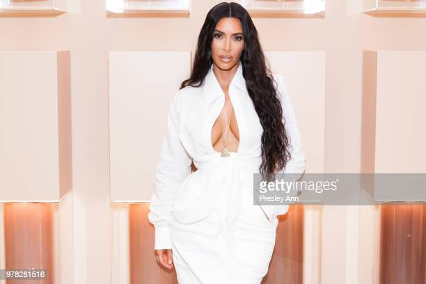 Kim Kardashian West at her firstever KKW Beauty and Fragrance popup opening at Westfield Century City in Los Angeles on June 20th 2018
