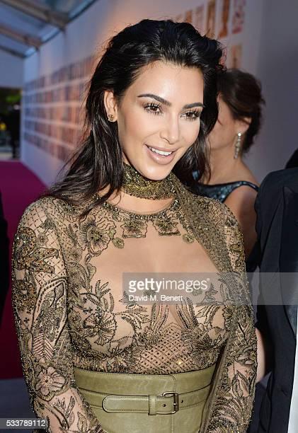 Kim Kardashian West attends British Vogue's Centenary gala dinner at Kensington Gardens on May 23 2016 in London England