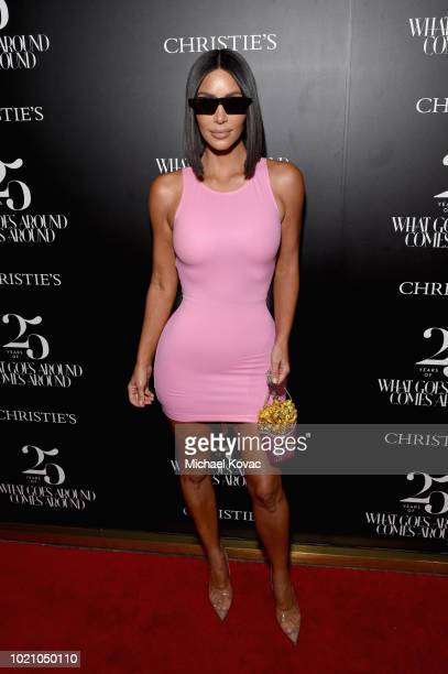 Kim Kardashian West attends Christie's x What Goes Around Comes Around 25th Anniversary Auction Preview at What Goes Around Comes Around on August 21...