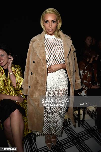 Kim Kardashian West attends the Balenciaga show as part of the Paris Fashion Week Womenswear Fall/Winter 2015/2016 on March 6 2015 in Paris France