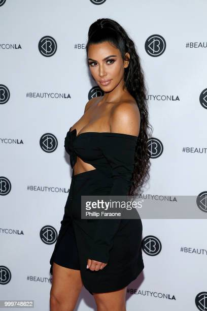 Kim Kardashian West attends the Beautycon Festival LA 2018 at Los Angeles Convention Center on July 15 2018 in Los Angeles California