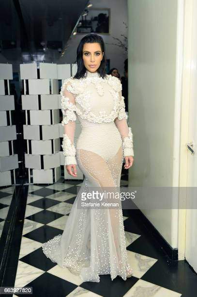 Kim Kardashian West attends The Daily Front Row and REVOLVE FLA after party at Mr Chow hosted by Mert Alas on April 2 2017 in Los Angeles California