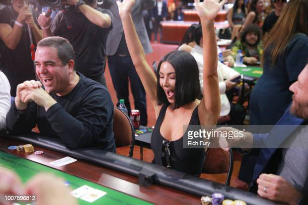 Kim Kardashian West attends the first annual If Only Texas hold'em charity poker tournament benefiting City of Hope at The Forum on July 29 2018 in...