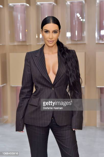 Kim Kardashian West attends the KKW Beauty PopUp at South Coast Plaza on December 4 2018 in Costa Mesa California
