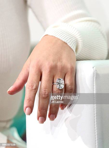 Kim Kardashian West engagement ring detail attends the #BlogHer16 Experts Among Us Conference on August 5 2016 in Los Angeles California