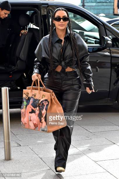 "Kim Kardashian West is seen arriving at the ""Ritz"" hotel on March 03, 2020 in Paris, France."
