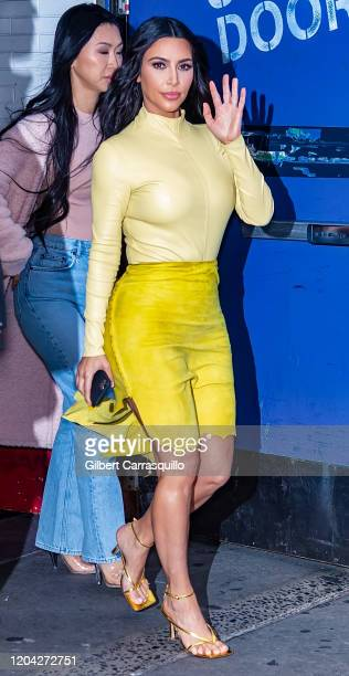 Kim Kardashian West is seen leaving 'Good Morning America' in Times Square on February 05, 2020 in New York City.