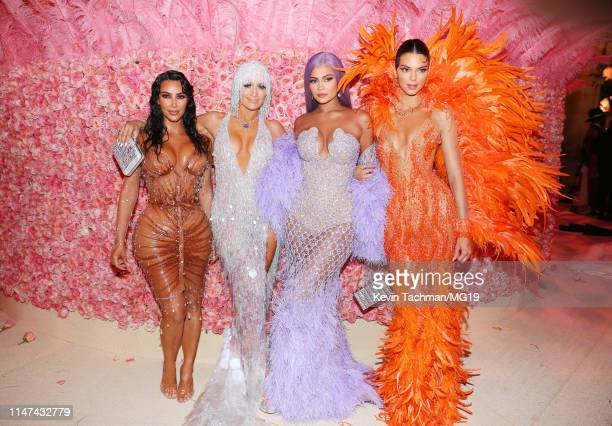 Kim Kardashian West Jennifer Lopez Kylie Jenner and Kendall Jenner attend The 2019 Met Gala Celebrating Camp Notes on Fashion at Metropolitan Museum...