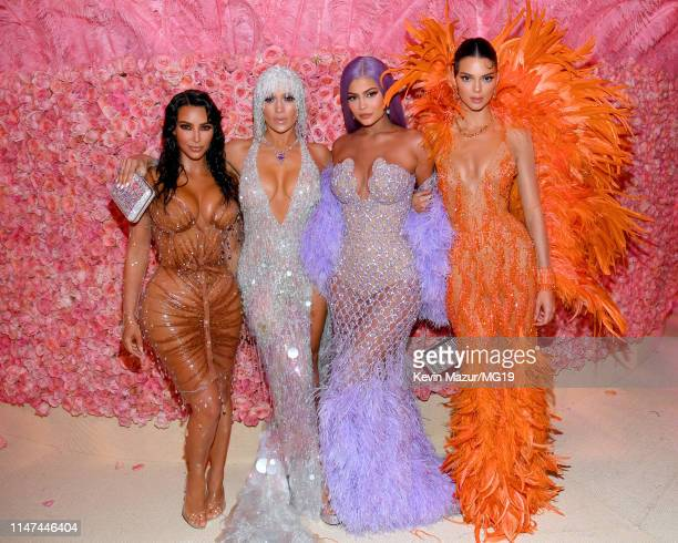 Kim Kardashian West Jennifer Lopez Kylie Jenner and Kendall Jenner attend The 2019 Met Gala Celebrating Camp Notes on Fashion at Metropolitan Museum...