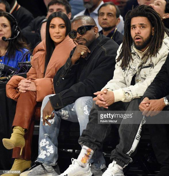 Kim Kardashian West Kanye West and J Cole attend the 69th NBA AllStar Game at United Center on February 16 2020 in Chicago Illinois