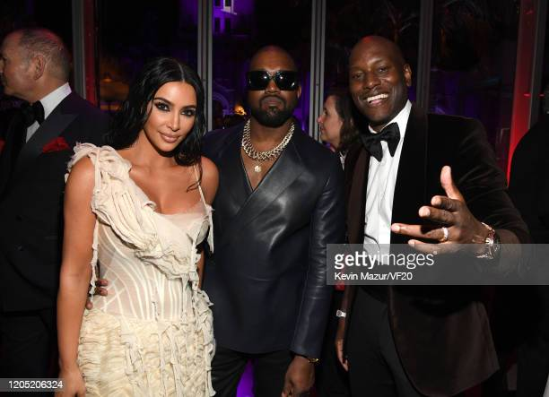 Kim Kardashian West Kanye West and Tyrese Gibson attend the 2020 Vanity Fair Oscar Party hosted by Radhika Jones at Wallis Annenberg Center for the...