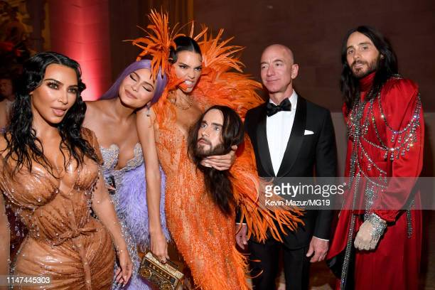 Kim Kardashian West Kylie Jenner Kendall Jenner Jeff Bezos and Jared Leto attend The 2019 Met Gala Celebrating Camp Notes on Fashion at Metropolitan...
