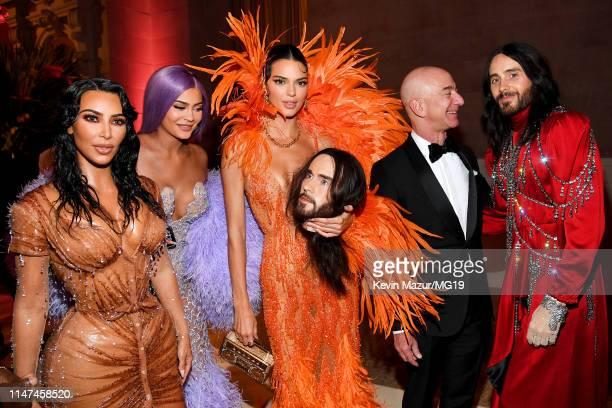 Kim Kardashian West Kylie Jenner Kendall Jenner Jeff Bezos and Jared Leto attend The 2019 Met Gala Celebrating Camp Notes on Fashion at Metropolitan...
