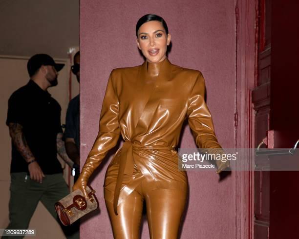Kim Kardashian West leaves K.West's Sunday Service At Theatre Des Bouffes Du Nord - Paris Fashion Week Womenswear Fall/Winter 2020/2021 on March 01,...